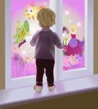 Een baby door het venster Royalty-vrije Stock Afbeeldingen