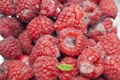 Een bakje van verlopen frambozenfruit royalty-vrije stock foto's