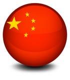 Een bal met de vlag van China wordt ontworpen dat stock illustratie