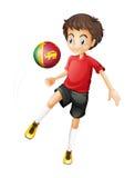 Een bal met de vlag van Sri Lanka door de voetbalster wordt gespeeld die vector illustratie