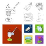 Een bal met een golfclub, een zak met stokken, handschoenen, een golfcursus Pictogrammen van de golfclub de vastgestelde inzameli stock illustratie