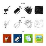 Een bal met een golfclub, een zak met stokken, handschoenen, een golfcursus Pictogrammen van de golfclub de vastgestelde inzameli vector illustratie