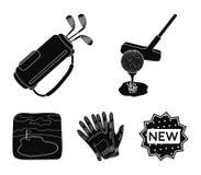 Een bal met een golfclub, een zak met stokken, handschoenen, een golfcursus Pictogrammen van de golfclub de vastgestelde inzameli royalty-vrije illustratie