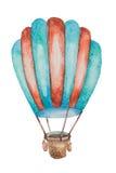 Een ballon van groen en rood voor reis met een mand in waterverf wordt getrokken die Royalty-vrije Stock Afbeeldingen