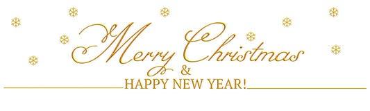 Een banner met Vrolijke Kerstmis & Gelukkig nieuw die jaar ` van ` in goud wordt geschreven stock illustratie