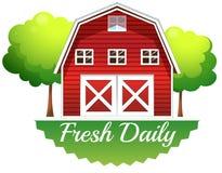 Een barnhouse met een vers dagelijks etiket vector illustratie