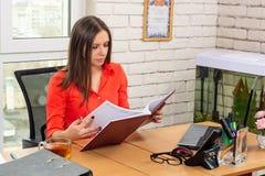 Een beambte zorgvuldig bestudeert de documenten stock afbeeldingen