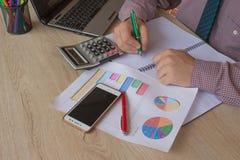 een bedrijfsmens die in de lijstplan van het huisbureau werken voor bedrijfsmarktanalyse Mensenhand met calculator op offic het w Stock Afbeeldingen