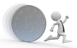 Een bedrijfsmens die van een reusachtig muntstuk loopt vector illustratie