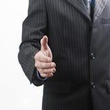 Een bedrijfsmens met een open hand Stock Foto