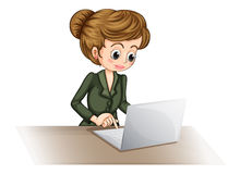 Een bedrijfspictogram die laptop met behulp van Stock Foto's