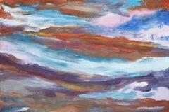 Een beeld van abstracte golven Hand getrokken olieverfschilderij Het werk van schilder Een landschap van water Kleurrijk olieverf Stock Foto's