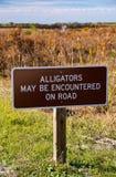 Een beeld van Alligators kan op verkeersteken worden ontmoet Stock Afbeelding