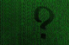 Een beeld van een binaire code van heldergroene cijfers, waardoor de vorm van een vraagteken zichtbaar is stock illustratie