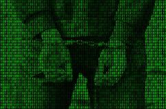 Een beeld van een binaire code van heldergroene cijfers, waardoor het beeld van een gearresteerde en de handboeien om:doen persoo Stock Afbeeldingen