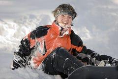 Een beeld van de gezondheidslevensstijl van snowboarder stock foto