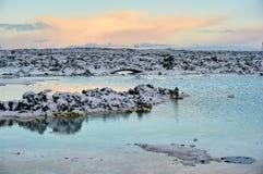 Een beeld van de landschapswinter in IJsland wordt genomen dat royalty-vrije stock afbeeldingen