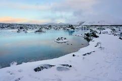 Een beeld van de landschapswinter in IJsland wordt genomen dat stock fotografie