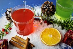 Een Beeld van de winter drinkt - Kerstmisdrank stock afbeelding