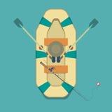 Een beeld van een visser in een vlakke stijl, visser, boot, fishin Royalty-vrije Stock Fotografie