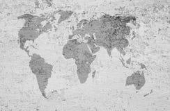 Een beeld van een wereldkaart op een geweven achtergrond Royalty-vrije Stock Foto