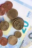 een beeld van euro geldconcept op witte achtergrond Stock Afbeelding