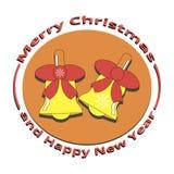 Een beeld van twee klokken op Kerstmis en Nieuwjaar Stock Foto