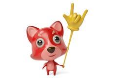 Een beeldverhaal firefox met het Speelgoed van een rotsvinger 3D Illustratie Stock Afbeeldingen