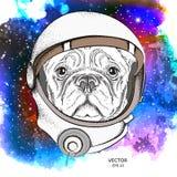Een beeldverhaalhond in een astronauten` s ruimtepak Karakter in ruimte Vector illustratie Royalty-vrije Stock Afbeelding