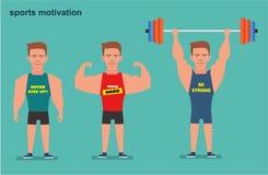 Een beeldverhaalkarakter, een sterke mens, de atleet Sportmotivatie Vlakke illustratie Stock Foto's
