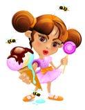 Een Beeldverhaalmeisje met een roomijs en een suikergoed Royalty-vrije Stock Foto