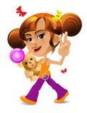 Een Beeldverhaalmeisje met een stuk speelgoed draagt en suikergoed Stock Fotografie