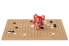 Een beeldverhaalvos die een spel speelt van gaat, 3D illustratie Stock Fotografie