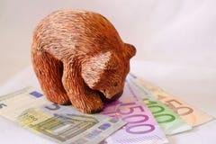 Een beer die zich over Euro bevinden royalty-vrije stock foto's