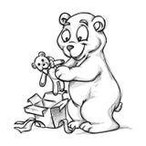 Een beer en een teddy-beer royalty-vrije illustratie