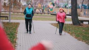 Een begint de oude vrouwenslagen op fluitje amd twee bejaarden op stokken te lopen van het noordse lopen stock footage