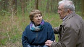 Een bejaard, mooi paar die en in het park spreken lopen Zij glimlachen zacht, koesteren, als om elkaar te bekijken stock video
