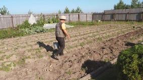 Een Bejaarde die met een Lege Emmer in van hem lopen dient de Tuinbedden in stock videobeelden