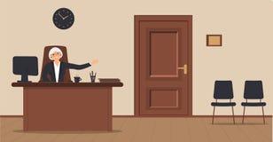 Een bejaarde elegante zitting van de secretaressevrouw in de werkplaats op een ontvangstgebied op een roomachtergrond royalty-vrije illustratie