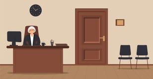 Een bejaarde elegante zitting van de secretaressevrouw in de werkplaats op een ontvangstgebied op een roomachtergrond stock illustratie