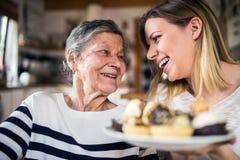 Een bejaarde grootmoeder met een volwassen kleindochter thuis stock afbeelding