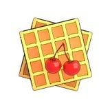 Een Belgische wafel met kers stock illustratie