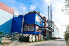 Een benzinestation in St. Petersburg, onafhankelijk gasgenerator en ketelruim in ??n plaats royalty-vrije stock afbeeldingen