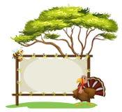 Een berichtraad, een vogel en een honingbij Royalty-vrije Stock Afbeeldingen