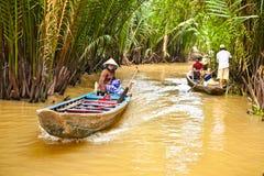 Een beroemde toeristenbestemming is in Mekong delta, Vietnam Stock Foto's