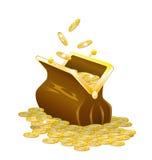 Een beurs en gouden muntstukken. Stock Foto