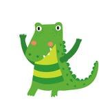 Een bevindend krokodillebeeldverhaalkarakter Stock Foto's
