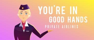 Een bevindend vliegtuig E Een stewardess vector illustratie