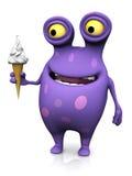 Een bevlekt monster die een roomijs houden. vector illustratie