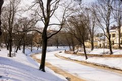Een Bevroren Park in Riga, Letland Royalty-vrije Stock Foto's